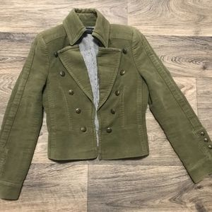 Zara Military Blazer Jacket Olive Green Small